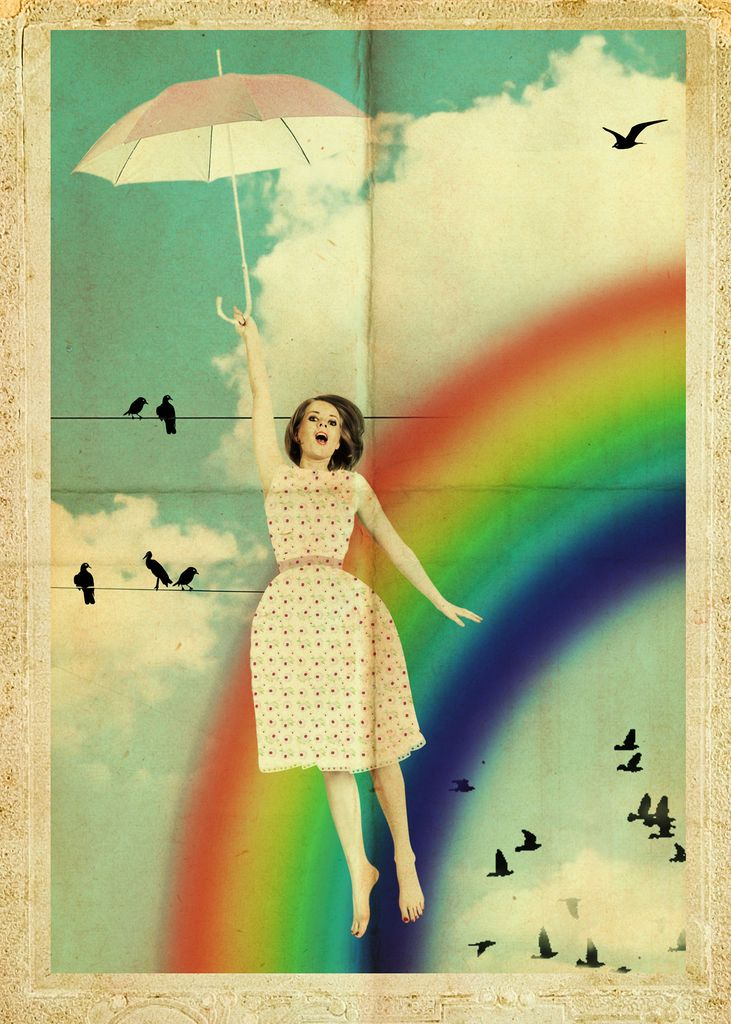 Woman fly with umbrella