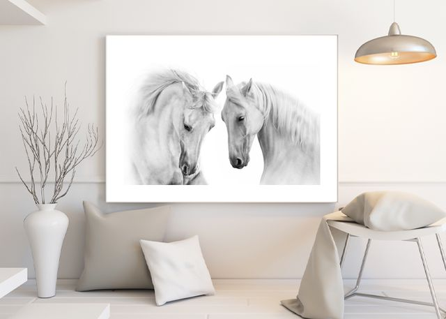 Two white beautiful horses Environment