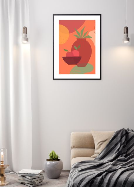 Warm still life with vase and plant A Environment
