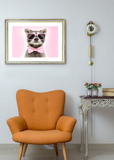 Raccoon with pink glasses Environment