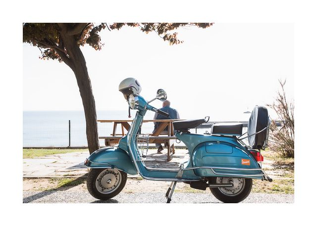 Moped man and sea