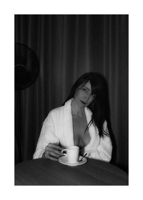 Woman having coffee