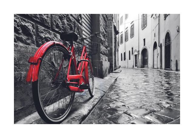 Red bicycle in an old town