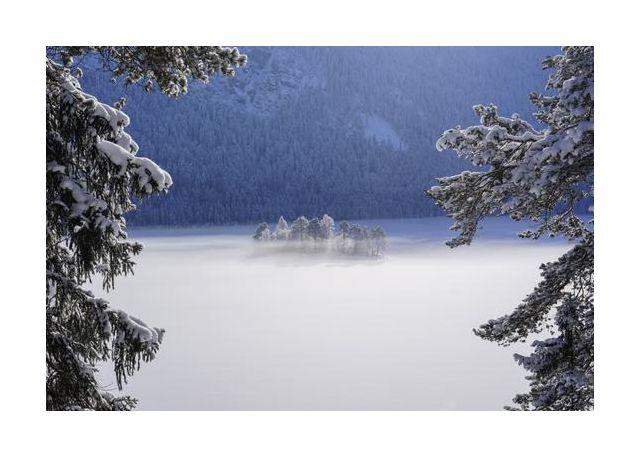 fog over frozen lake
