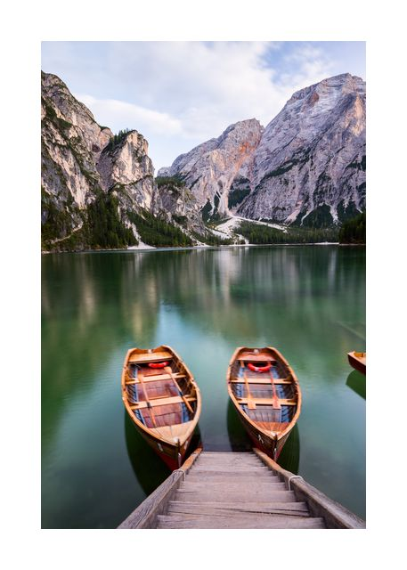 Boats on the Braies Lake