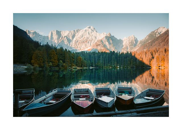 Boats in a alp lake