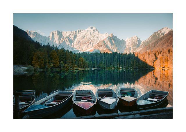Boats in a alp lake