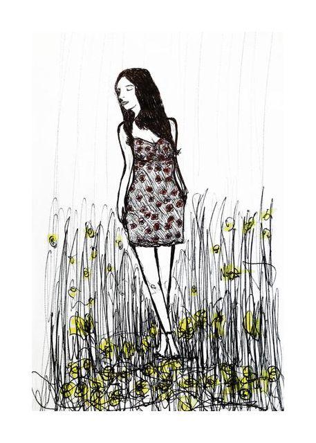 Girl between flowers