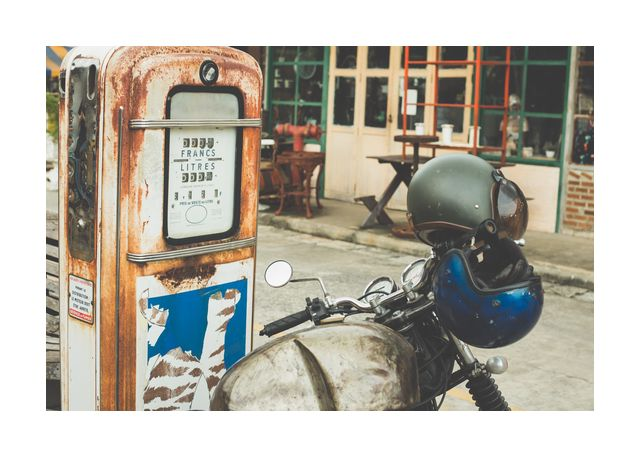 Motorcycle and petrol pump retro