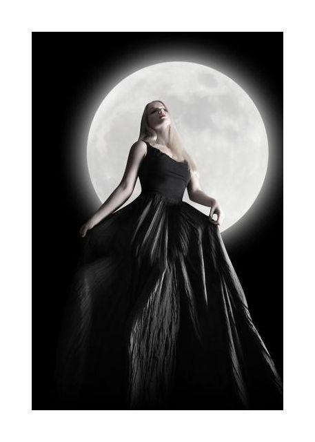 Dark Night Moon Girl with Black Dress