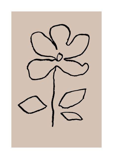 Oil Pastel Flower Black