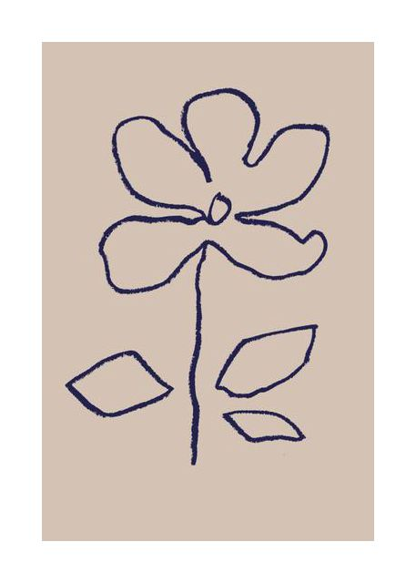 Oil Pastel Flower Blue